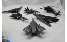 "6 Military Planes Aircraft 8"" Long Black Made in China Plastic Helicopters Blue"