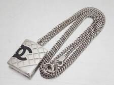 Auth CHANEL Cambon Line Pendant Necklace Black/Silvertone Enamel/Metal - e45728