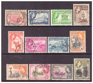 Gold Coast QEII 1952 Pictorial Definitive set used SG153-164