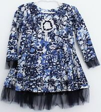 3T BEETLEJUICE LONDON BLUE & WHITE FLORAL TULLE ruffle TRIM dress NEW NWOT