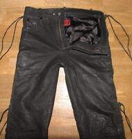 """ TOXX "" Schnür- LEDERJEANS / Biker- Lederhose in schwarz in W31"" /L30"""