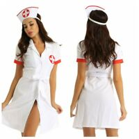 Adult Women Sexy Nurse Lingerie Costume Cosplay Button Down Uniform Fancy Dress
