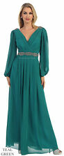 LONG SLEEVE MOTHER of the GROOM BRIDE PLUS SIZE EVENING FORMAL GOWNS V NECK LONG