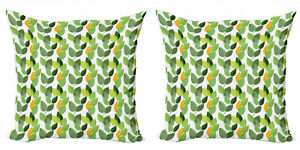 Ambesonne Leaves Motif Cushion Cover Set of 2 for Couch and Bed in 4 Sizes