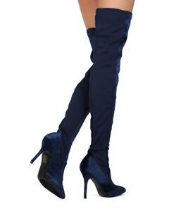 New Women MACKIN J 142-8 Velvet and Elastane Thigh High Pointy Toe Stiletto Boot