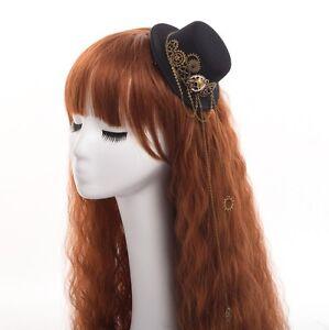 Women Steampunk Skull Gear Hair Clip Mini Hat Lolita Gothic Punk Head Wear