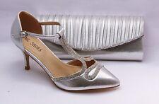 Zapatos de Danza Noche Zapatos Plata Tiras O Aptas Bolso Novia FA76