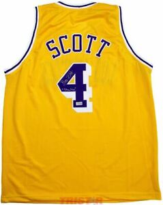 Byron Scott Signed Los Angeles Yellow Custom Jersey Inscribed Showtime TRISTAR