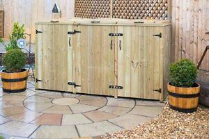 Triple Wheelie Bin Store Storage Wooden Chest Triple Doors Lids UK Made FSC
