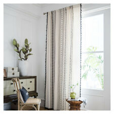 Boho Geometric Sheer Voile Curtains Window Drapes Living Room Black Lace Tulles
