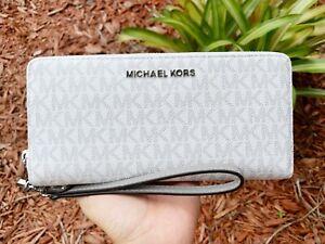 Michael Kors Jet Set Travel Continental Long Wallet Wristlet Brown Vanilla Black