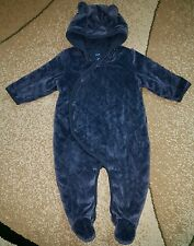 Baby Gap Bear Footed Winter Outfit Snowsuit Quilted Velour Navy Blue 6-12 month