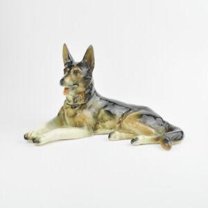 Cortendorf 2303 A - Keramik - Deutscher Schäferhund - liegend - Hund - Figur