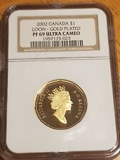 ➡➡2002 Canada NGC 69PL Ultra Cameo Collector's 1987-2002 GOLD plated Loonie