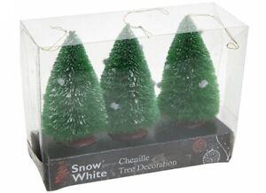 CHENILLE GREEN TREE DECORATION FAIRY GARDEN MINI CHRISTMAS DOLL HOUSE FUR STAND