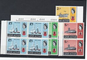GIBRALTAR (1A137) 1967 Ships 2/-, 5/-, 10/- & £1 in Never hinged blocks 4