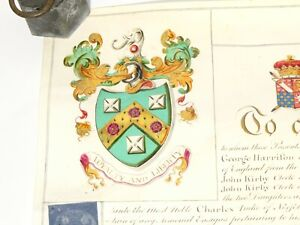 1811 Illuminated Grant of Arms 2 Seals Rev John Kirby Mayfield Sussex READ ALL !