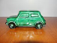 Vintage Ceramic Automobile Car Coin Piggy Bank - Green & Black w/ Stopper