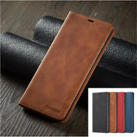 For Samsung S20 Ultra Note 10+ 9 8 S8 S9 Magnetic Case Leather Flip Wallet Cover