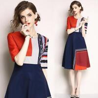 womens fashion temperament printing high waist contrast color A-line Dress S-2XL