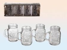 Set of 4 Mason Jam Jar Shot Glass Breakfast Juice Water Tumbler Glasses Party