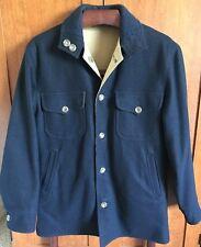 Pendleton Vintage Wool / Poplin Reversible Coat Jacket Navy Blue/Tan Men's Small