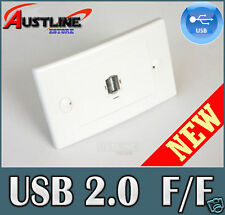 USB 1Port Wall Plate Coupler Female to Female Jack New