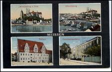 Meissen Sachsen 4-fach Mehrbildkarte 1927 gelaufen Porzellan Manufaktur Dom u.a.