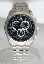 Citizen Men's AT1180-56F Chronograph Eco Drive Watch Steel Black Dial
