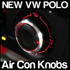 VW POLO Air Con A/C BLACK and Silver Knobs Heater Dials - 3 NEW Custom Mod