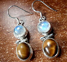 Tiger Eye Moonstone Earrings 925 Sterling Silver Dangle Drop Round New