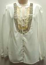 *NWT Adorable ECI  New York White Stretch Blouse/Top w/ Beading sz 8-Org $59