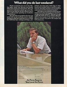 1974 Print Ad of US Air Force Reserve What Did You Do Last Weekend Recruiting