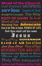 PKG 5 Postcards, Names of Our Lord Jesus Christ from Christian Bible Scripture