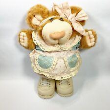 "Vintage Furskin 15"" Xavier Roberts 1986 Coleco Girl Dress Shoes Bow Plush Bear"