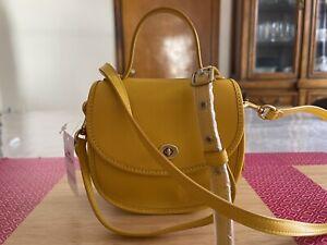 Coach mini top handle saddle bag Leather Turnlock Crossbody ~NWT~ yellow 876