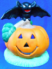Halloween Pumpkin Candle Holder with Black Bat