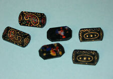 6 Antique Black Glass Button Lozenge Gold Luster Paisley Gold Dot Black lacquer