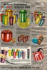 1953 ADVERT Heller's Colorama Beverage Sets Glasses Tumblers Tea Kettle Pitcher