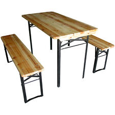 BEER TABLE & BENCH SET OUTDOOR WOODEN FOLDING TRESTLE GARDEN FURNITURE STEEL LEG