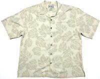 Hilo Hattie Mens XL Short Sleeve Button Up Silk Hawaiian Shirt Beige EUC
