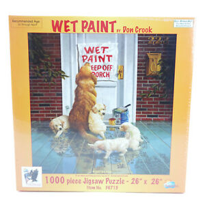 SunsOut Don Crook Wet Paint 1000 pc Jigsaw Puzzle Humor Puppies New Sealed