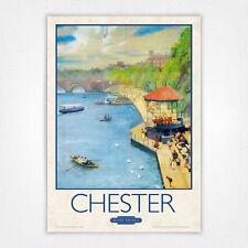 Poster Vintage Ferrocarril de cartel viaje-A4-Chester quiosco de música por el río Dee