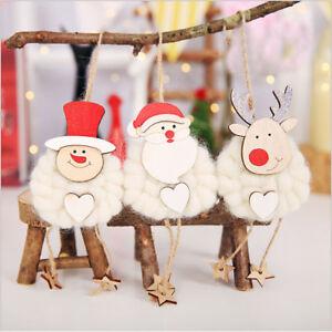 3Pcs Christmas Felt Snowman Elk Set Xmas Tree Decoration Cloth Hanging Decor CB
