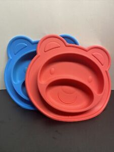 Nuby Suction Plate Lot X2, Bear, Red & Blue, Silicon, BPA Free, USED