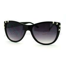 Studded Fashion Sunglasses Womens Round Cateye Frame Black