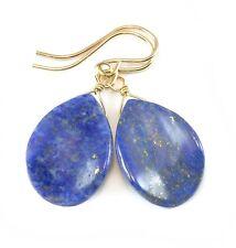 Lapis Earrings 14k Gold Filled Natural Curved Teardrops Denim Blue Lazuli
