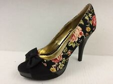 Rampage Womens 6 M Black Pink Floral Print Stiletto High Heels Peep Toe Bow Shoe