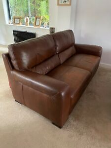 SCS Brown/Tan Leather Sofa Set