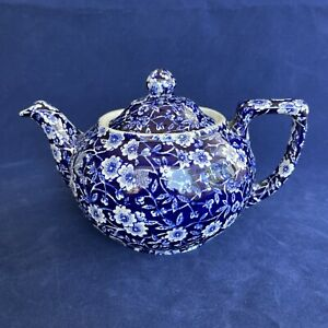 Burleigh Blue Calico Small Teapot Staffordshire England 16oz Tea pot